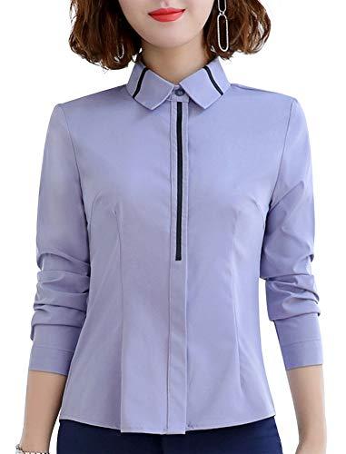 Damen Büro-Hemd, formell, lässig, solide Blusen für Frauen, langärmelig Gr. XS, Bluets-6108l - Schwarzes Jersey, Drape-Ärmel Top
