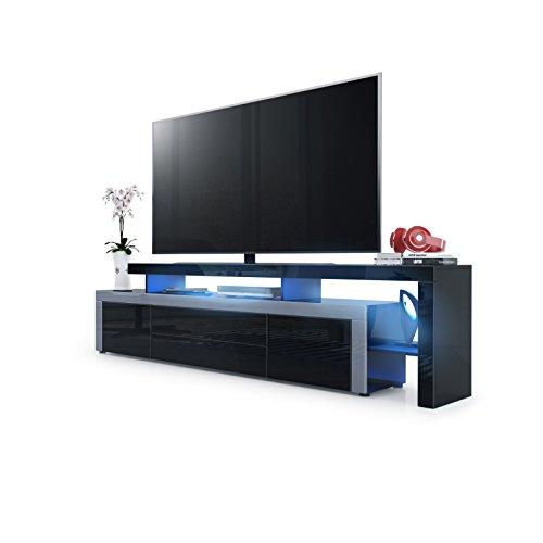 Meuble de télévision Leon V2 - Noir, Noir haute brillance / Gris haute brillance, avec éclairage LED