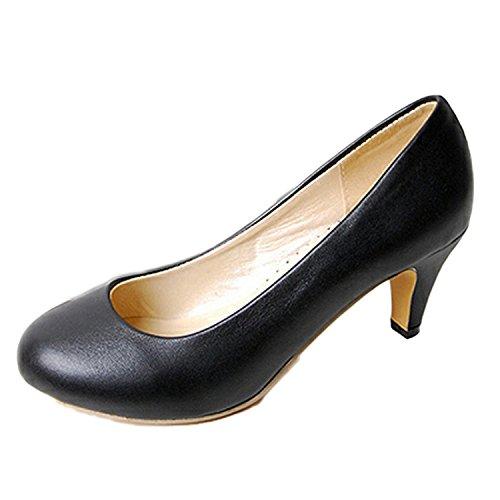 nonbrand Femme Talon Bas Bureau Cour Chaussures Talons Hauts Mesdames Pompes Noir - noir