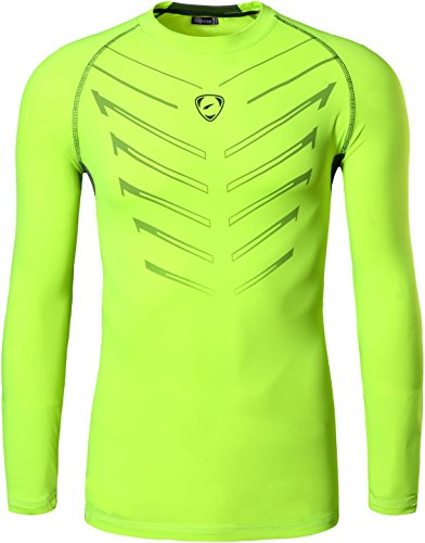 jeansian Herren Casual Long Sleeves Quick Dry T-Shirts Wicking Running Sport Tee Shirt Top LA184 LA190_GreenYellow