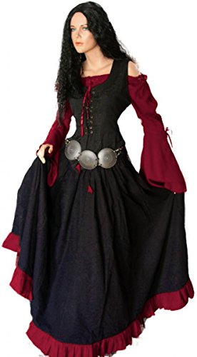 Dark Dreams Gothic Mittelalter LARP Kleid Gewand Bluse Mieder Rock Schankmaid II, Farbe:schwarz/rot, Größe:S/M
