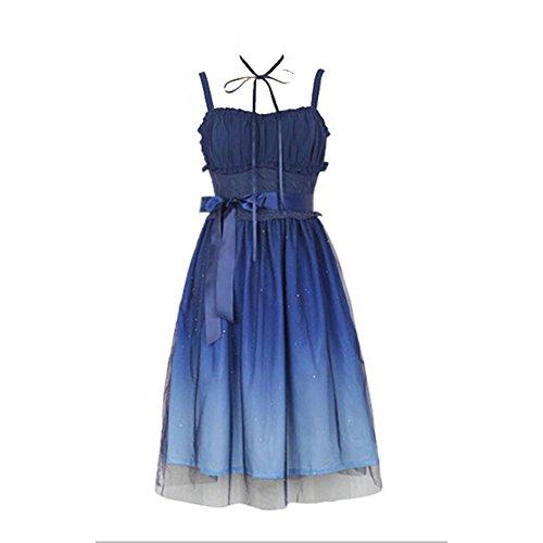 Damen Lolita Dunkel Nacht Himmel Drucken Gradient Farbe Kleid Ärmellos Kleid (S)
