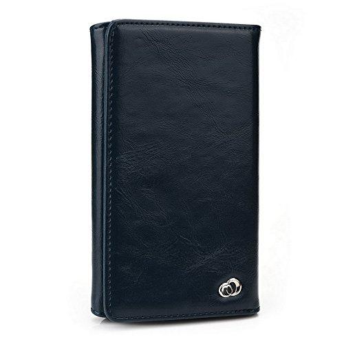 Kroo Portefeuille unisexe avec Yezz ANDY 5T ajustement universel différentes couleurs disponibles avec affichage écran noir - noir Bleu - bleu