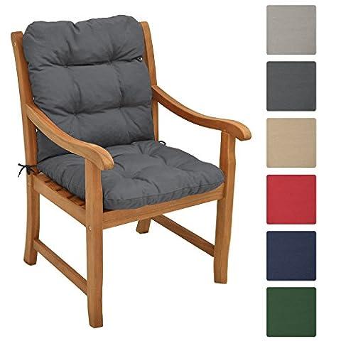Beautissu Matelas Coussin pour chaise fauteuil de jardin terrasse Flair NL 100x50x8cm - Gris graphite