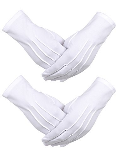 Sumind 2 Pairs Nylon Cotton Gloves for Police Formal Tuxedo Honor Guard  Parade Costume (White 3aab3593b33c