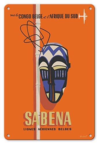 22cm x 30cm Vintage Metallschild - Kongo - Südafrika - Sabena, Belgische Flugliniengesellschaft - In den Belgisch-Kongo und Südafrika - Stammes-Maske - Vintage Retro Fluggesellschaft Reise Plakat von Hohet c.1950s