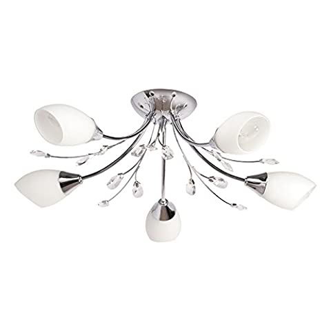 Elegant compact Ceiling light metal white glass chrome colour clear crystal 5-arm diametre 45cm E27c5x60W 230V