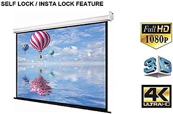 """Insta Lock, Self Lock Projector Screen Diagonal in 4:3 Aspect Ratio, HD-3D-4K Compatible (10ft x 8ft (150""""))"""