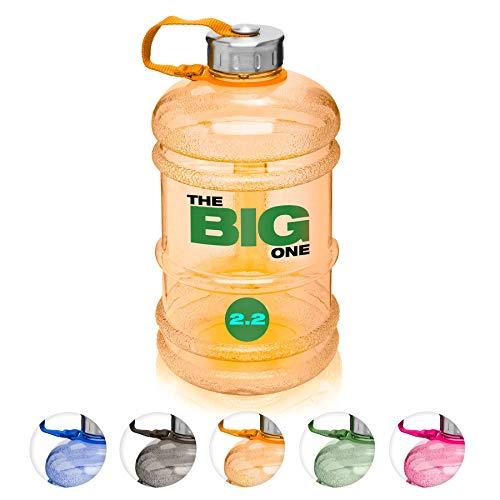 XXL Trinkflasche/Water Jug/Wasser Gallone / 2,2Liter Sportflasche BZW. Wasserflasche aus hochwertigen Tritan (BPA-frei) perfekt für Crossfit, Fitness, Bodybuilding, MMA & Krafttraining/orange -