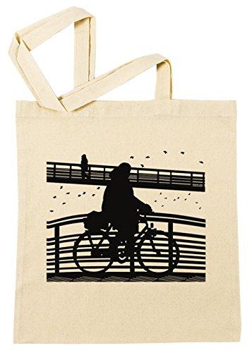 Erido Frau auf Fahrrad Karikatur Illustration Einkaufstasche Wiederverwendbar Strand Baumwoll Shopping Bag Beach Reusable