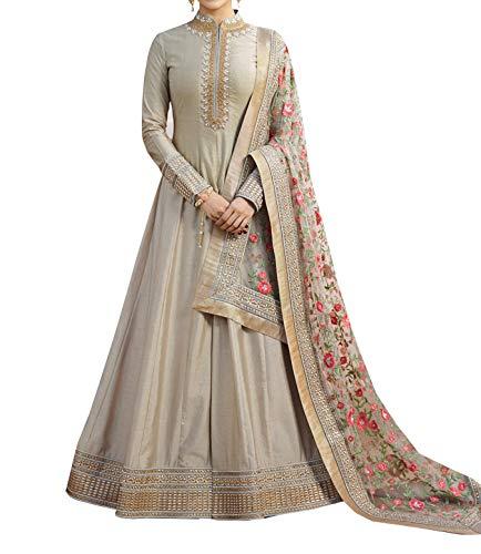 Divyansh Boutique Women\'s Grey Chennai SilkFuax Georgette Women\'s Semi Stitched Anarkali Salwar Suit And Duptta