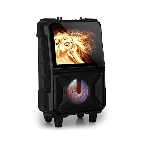 auna CenterStage 8 - mobile Karaoke-Lautsprecher Anlage, Karaoke-System, Bluetooth, 40 Watt RMS, USB, MicroSD-Slot, 14.1\'\' Farbdisplay, Funk-Mikrofon, rechargeable Lithium-Akku, schwarz