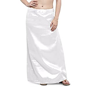 S.K. Textiles Women's Satin Petticoat (SKT19_White_Medium) (41-45 inches waist)