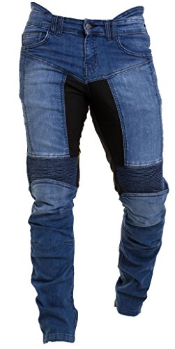 Qaswa Herren Motorradhose Jeans Motorrad Hose Motorradrüstung Schutzauskleidung Motorcycle Biker Pants, Blau, 38W / 32L (Klassische Jeans 14 Herren)