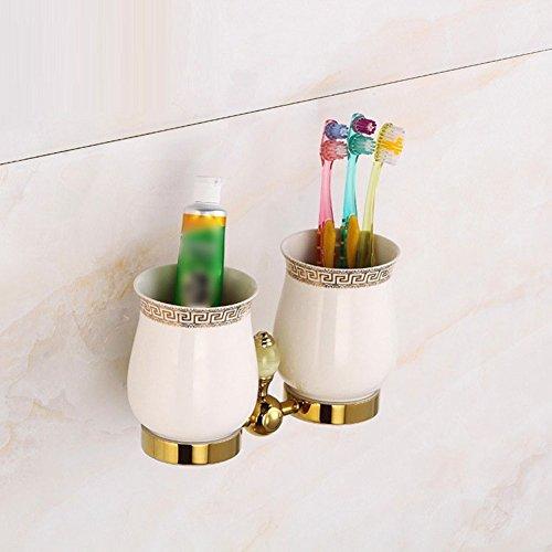 ZHUCHANGJIANG ZC&J Costumes de tasse de brosse à dents de luxe antique de salle de bains continentale, accessoires de matériel décoratif haut de gamme de salle de bains à la maison