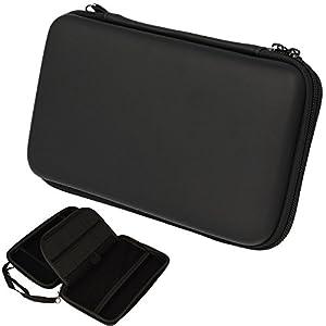 TECHGEAR 2DS XL Case Tasche für New Nintendo 2DS XL, mit Aufbewahrung, Gehäusedeckel, Hartschale, Hartschützender Reise- & Aufbewahrungskoffer für 2DS XL Konsole & Zubehör – Schwarz