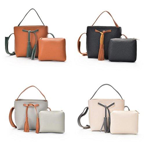 BZLine® Frauen Schultertaschen mit Corssbody Bag & Handtasche + Clutch Wallet Schwarz