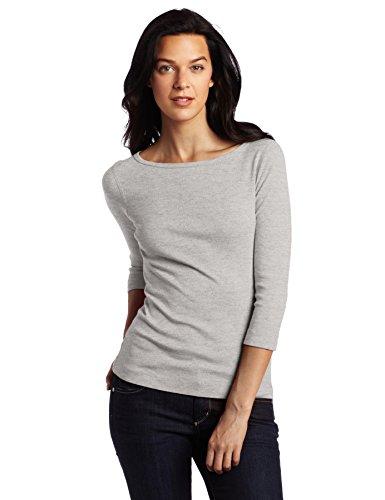 Three Dots Damen T-Shirt Britischer Boat-Neck - grau - X-Klein -