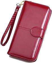 SKUDGEAR Long Bi-Fold Zipper Wallet Large Capacity PU Leather Clutch Women's Wristlet (Wine