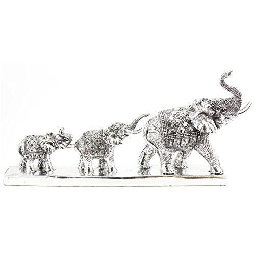 Set Of 3 Silver Mirrored Mosaic Elephant Family Parade Figurines Sculptures New