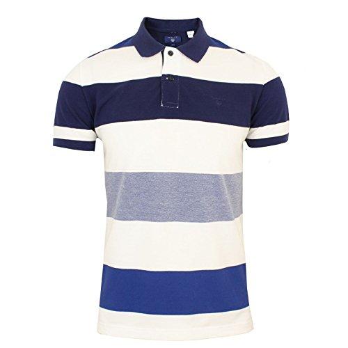 GANT Herren Poloshirt O2. Oxford Multi Stripe Ss Rugger Stoned Blue