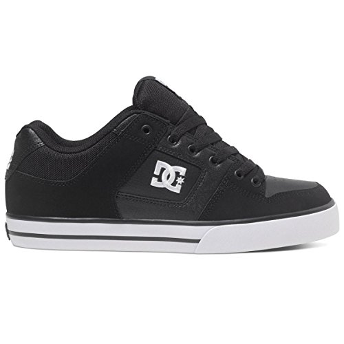 dc-shoes-mens-pure-black-white-leather-trainers-43-eu