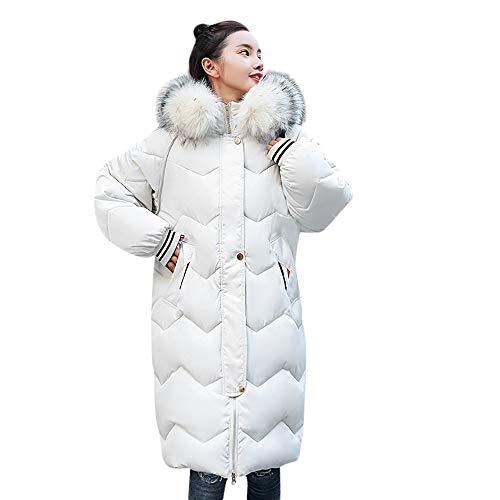 GHEMD Ghemdilmn Damen Steppjacke Winterjacke Mit Fellkapuze Wintermantel Lange Daunenjacke Jacke Outwear Frauen Winter Warm Daunenmantel Mantel Daunenjacke