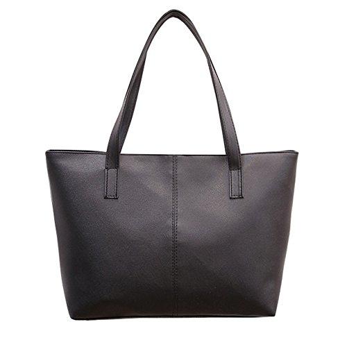Goosuny Damen Shopper Lederhandtaschen Einfach Klassisch Groß Leder Taschen Umhängetasche Tote Handtasche Reisetasche Frauen Schöne Taschen Black Zahnstocher Muster(Schwarz) -