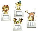 Stickerdesign Adesivi Murali Bambini 6 Pezzi Adesivi decorativi Orsetto Tigre Leone Simpatiche Giraffe Savana su jeep Gattino Gufetti colorate Animaletti della Savana Adesivo decorazione cameretta Giraffa spine placche Adesivo Wall Stickers decorativo Adesivi Murali Decorazione Interni