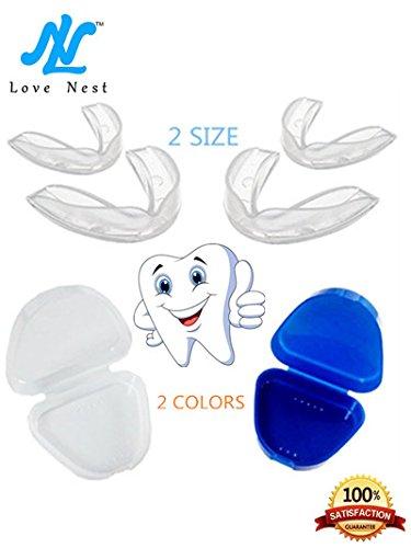 Love Nest, paradenti in gomma per il bruxismo, elimina il serraggio dei denti, confezione da 4paradenti in 2misure da adattare (lingua italiana non garantita)