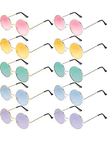 Tclothing 10 Paar Runde Hippie Sonnenbrille John 60's Stil Kreis Farbige Gläser