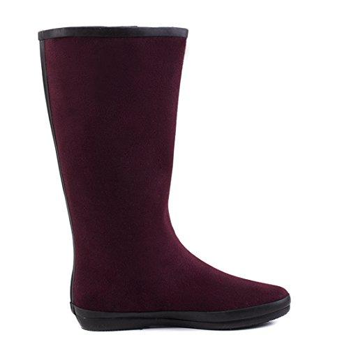 Stylische Damen Hochschaft Schlupf Boots Stiefel mit Schnalle in Lederoptik Weinrot