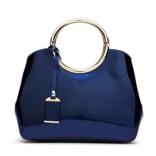 AlwaySky Damen Handtaschen, Damen Top Griff Taschen, Lackleder stilvolle Tote Umhängetaschen Handtasche für die Arbeit, Hochzeit, Einkaufen, Dating blau -