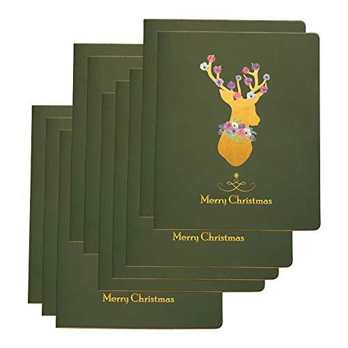 Milnut Weihnachtskarten Set, 10 Stück, Gelbe Sikahirsche Faltende Gruß-Karte Weihnachten/Danksagung Jahr Wünschen Karte Danke Zu Kardieren - Mehrfache Entwürfe