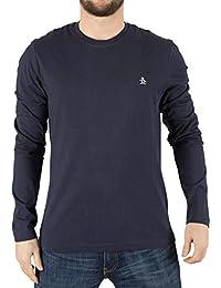 Original Penguin Homme Longsleeved Pin Point Logo T-Shirt, Bleu