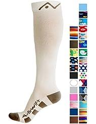 A-Swift Calcetines de compresión,1par, unisex, altura por debajo de la rodilla, ideales para correr, atletismo, crossfit, vuelos en avión, enfermería, maternidad, embarazo, dolor en las espinillas, Blanco