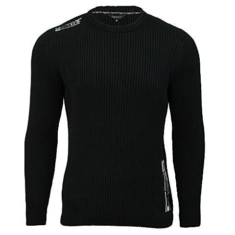 Xact Clothing - Pull pour homme - manches longues/col rond - côtelé - coton (Noir) M