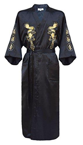 Japanisher herren Kimono Morgenmantel Bademantel Satin schwarz M