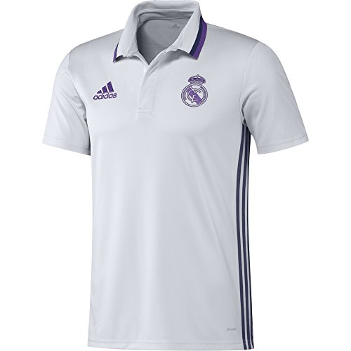 adidas Real Madrid Cf Cl Polo, Hombre, Blanco / Morado, XS