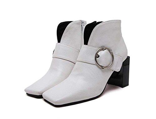 Pattini di vestito da Bootie della caviglia del quadrato del tallone di Chunkly Heels del quadrato di 8.5cm Scarpe da tennis dell'inarcamento della cinghia della chiusura lampo delle donne 2017 Autunno E Inverno Nuovo formato Eu 32-43 ( Color : White , Size : 35 )