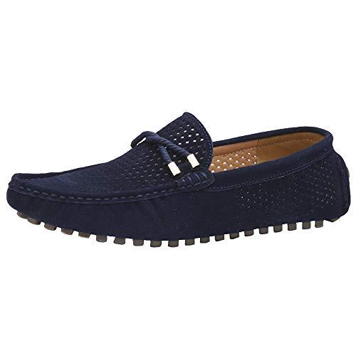 Yaer Herren Halbschuhe Wildleder Mokassin Slipper Confort Bootsschuh aus Leder (Blau EU41)