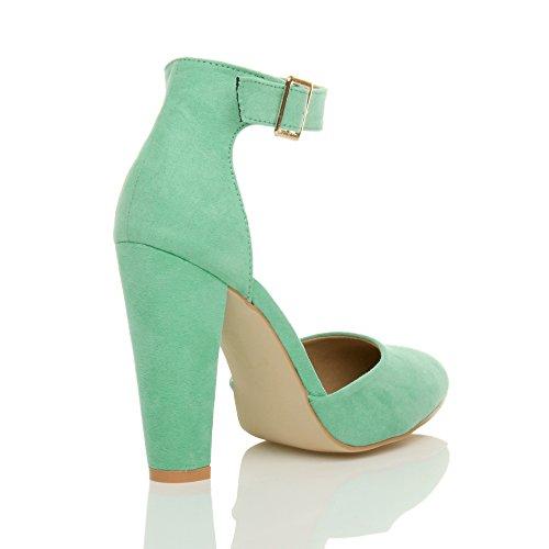 Femmes haute large talon boucle lanière pointu escarpins chaussures pointure Daim vert menthe