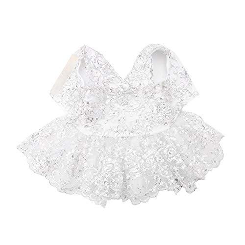 Garosa Hund Kleid Spitze Tutu Rock Prinzessin Hochzeit Kleid Elegante Pet Formelle Kleidung Mode Hund Kleidung Braut Kostüm für Hündchen (Silver XS)