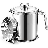 Chihee Filtro de Aceite, Recipiente de Grasa en Lata, 2 L Acero Inoxidable. Recipiente o pote de Lata con Filtro de Malla Fina, Adecuado para almacenar Aceite de fritura y Grasa de Cocina
