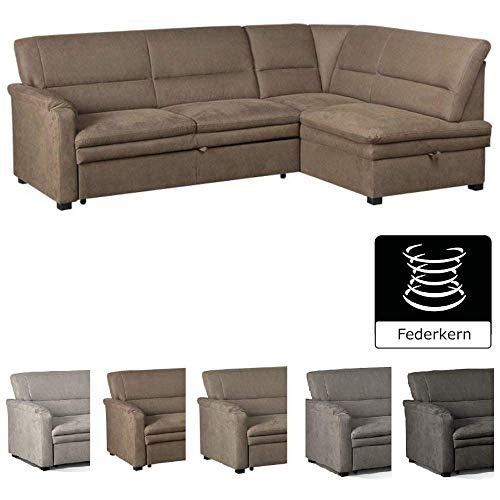CAVADORE Ecksofa Pisoo/L-Sofa mit hochwertigem Federkern im klassischen Design/Ottomane rechts/Größe: 245 x 89 x 161 cm (BxHxT) / Farbe: Braun - Couchgarnitur Ottomane