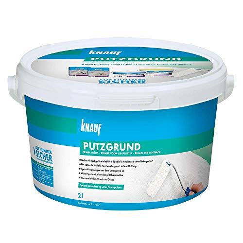 Knauf 4006379015320 Putzgrund, gebrauchsfertige Grundierung, Haftvermittler vor dem Auftragen von mineralischen Dekorputzen, atmungsaktiv, lösemittelfrei für Innen- und Außenbereiche, Weiß, 2 L