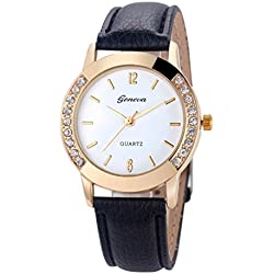 WINWINTOM Women Diamond Analog Leather Quartz Wrist Watch Black