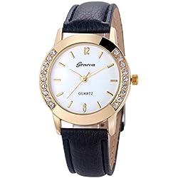 WINWINTOM Women Diamond Analog Leather Quartz Wrist Watch Black