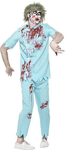 Smiffy's 45567L - Herren Zombie Zahnarzt Kostüm, Oberteil, Hose, Gesichtsmaske und Latex Zähne, Größe: L, blau