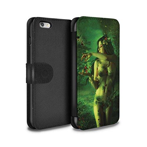 Officiel Elena Dudina Coque/Etui/Housse Cuir PU Case/Cover pour Apple iPhone 6+/Plus 5.5 / Masque d'Hiver Design / Un avec la Nature Collection Cerises Rouges